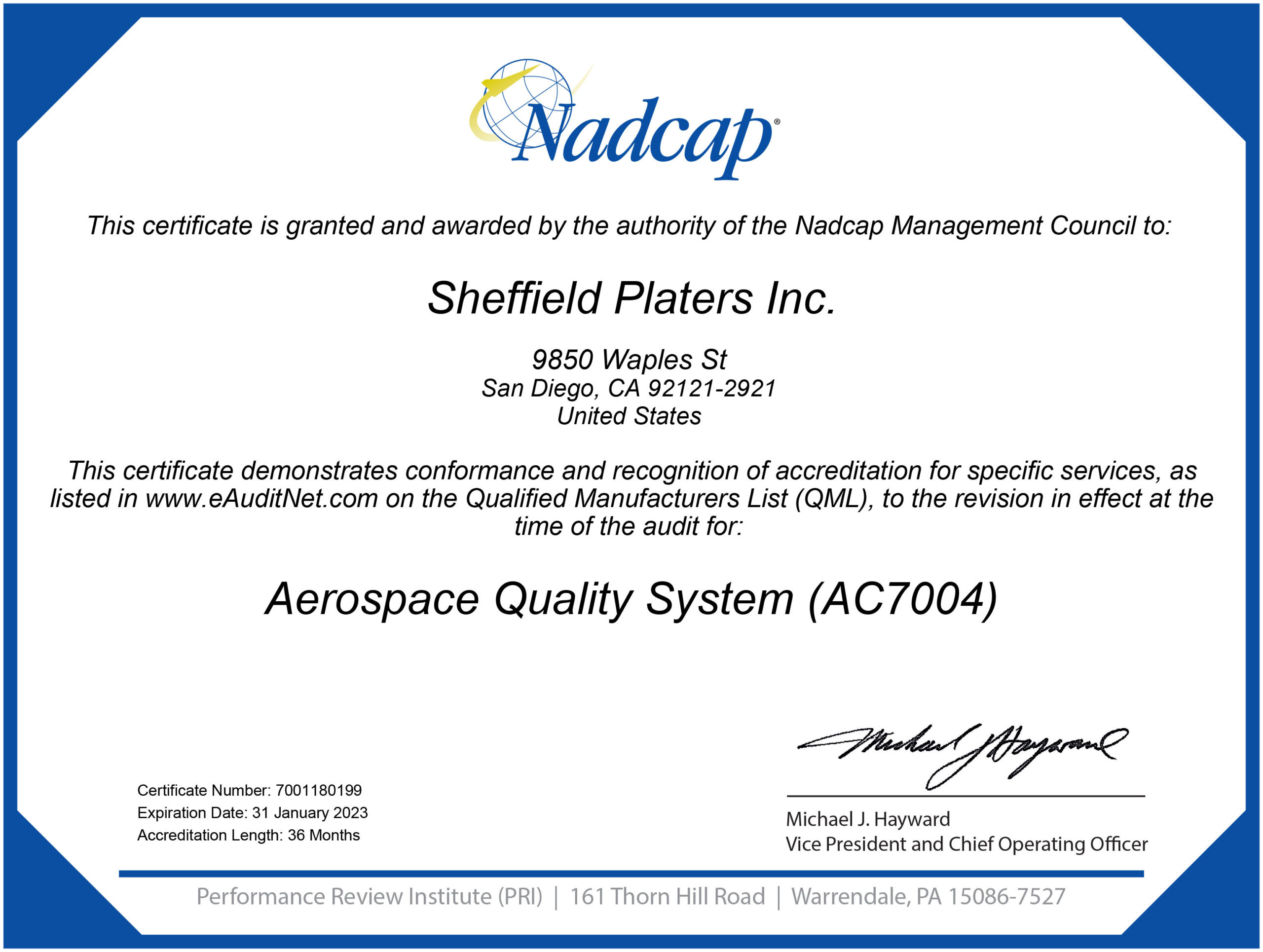 Nadcap Aerospace Quality Systems 180199